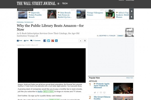 Wall Street Journal article about Libraries